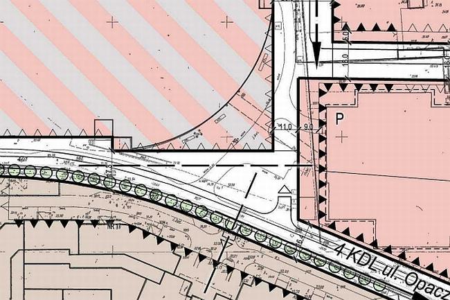 Fragment rysunku projektu planu zagospodarowania rejonu szczęśliwic